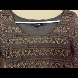 Forever 21 Golden brown lace bodice dress